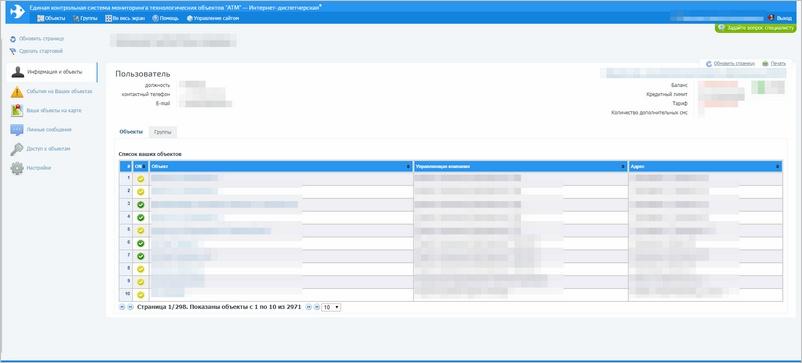 Система АТМ: Страница пользователя